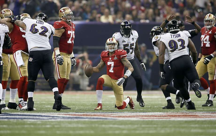 49ers Colin kaepernick slow to get after being tackled in the third quarter, as the San Francisco 49ers went on to fall to the Baltimore Ravens 34-31 in Superbowl XLVII at the Mercedes-Benz Superdome in New Orleans, La. on Sunday Feb. 3, 2013. Photo: Michael Macor, The Chronicle