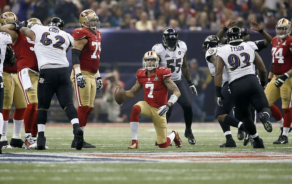 49ers Colin kaepernick slow to get after being tackled in the third quarter, as the San Francisco 49