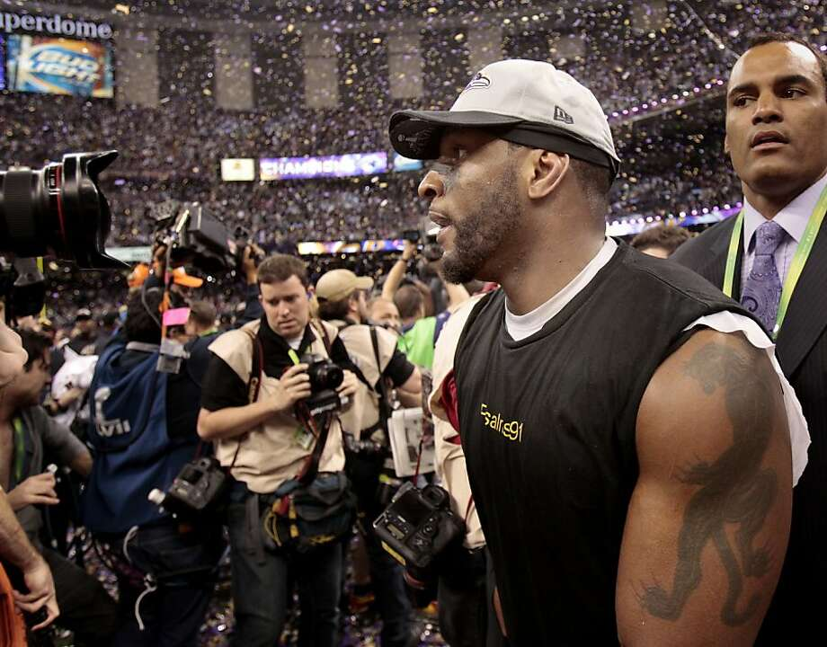 Ray Lewis walked through the confetti at the end of the game. The Baltimore Ravens defeated the San Francisco 49ers in Super Bowl XLVVII 34-31 Sunday February 3, 2013. Photo: Brant Ward, The Chronicle