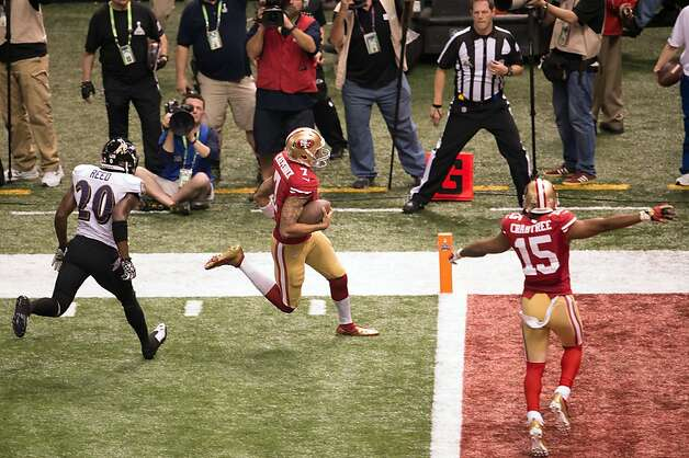 The emergence of Colin Kaepernick, who scored on a 15-yard run against the Ravens, is a prime reason for optimism. Photo: Smiley N. Pool, Chronicle