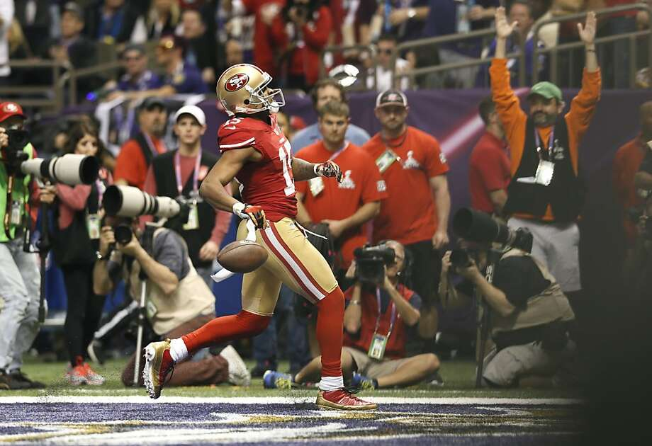 49ers Michael Crabtree into the end zone for a third quarter touchdown as the San Francisco 49ers went on to fall to the Baltimore Ravens 34-31 in Superbowl XLVII at the Mercedes-Benz Superdome in New Orleans, La. on Sunday Feb. 3, 2013. Photo: Michael Macor, The Chronicle