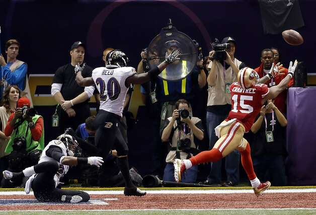 Michael Crabtree can't get to a ball thrown from Colin Kaepernick on fourth down on the 49ers last possesion trailing the Ravens 34-29. The San Francisco 49ers played the Baltimore Ravens in  Super Bowl XLVII, on Sunday, February 3, 2013, in New Orleans, La. Photo: Carlos Avila Gonzalez, The Chronicle