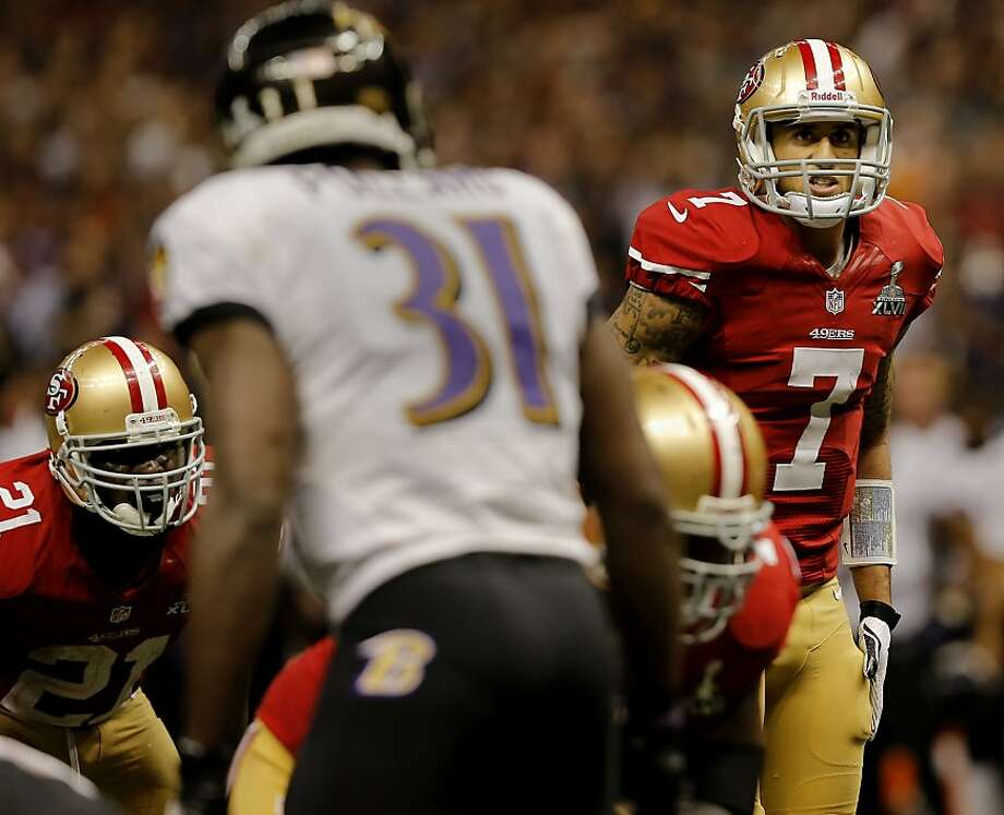 On the second to last possession Colin Kaepernick was unable to connect with Michael Crabtree. The Baltimore Ravens defeated the San Francisco 49ers in Super Bowl XLVVII 34-31 Sunday February 3, 2013. Photo: Brant Ward, The Chronicle
