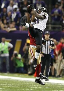 wide receiver Anquan Boldin (81) jumps for a catch in the fourth quarter of Superbowl XLVII between the San Francisco 49ers and the Baltimore Ravens at the Mercedes-Benz Superdome on Sunday February 3, 2013 in New Orleans, La. Photo: Michael Macor, The Chronicle