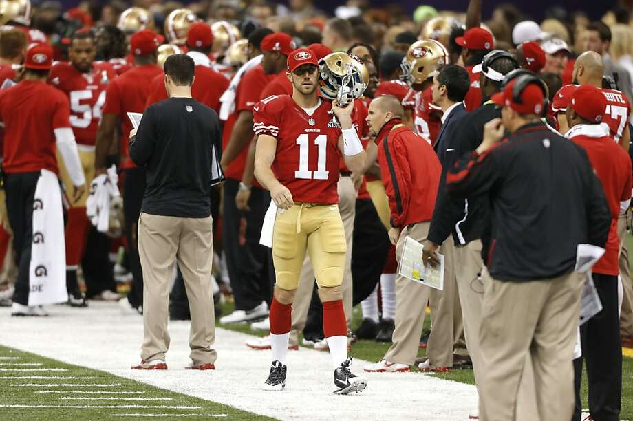 Quarterback Alex Smith (11) on the sidelines during the first half of Superbowl XLVII between the San Francisco 49ers and the Baltimore Ravens at the Mercedes-Benz Superdome on Sunday February 3, 2013 in New Orleans, La. Photo: Carlos Avila Gonzalez, The Chronicle