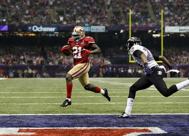 San Francisco 49ers Running back Frank Gore (21) runs in for a touchdown in the third quarter of Superbowl XLVII between the San Francisco 49ers and the Baltimore Ravens at the Mercedes-Benz Superdome on Sunday February 3, 2013 in New Orleans, La. Photo: Michael Macor, The Chronicle