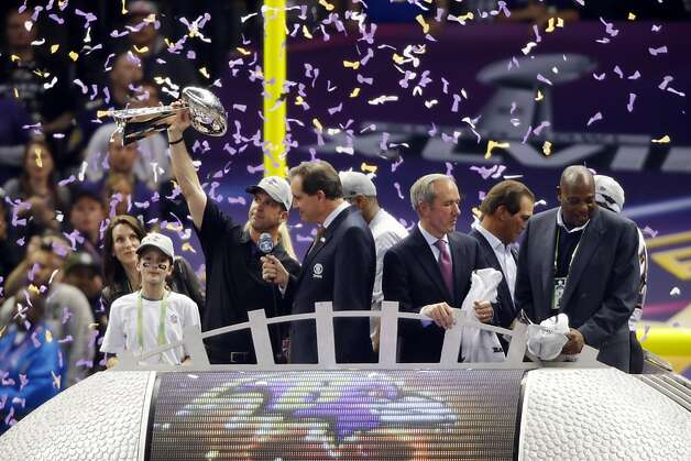 John Harbaugh, head coach of the Baltimore Ravens, holds the Lombardi Trophy after the Ravens defeated the 49ers 34-31 to win the Super Bowl. The San Francisco 49ers played the Baltimore Ravens in  Super Bowl XLVII, on Sunday, February 3, 2013, in New Orleans, La. Photo: Carlos Avila Gonzalez, The Chronicle