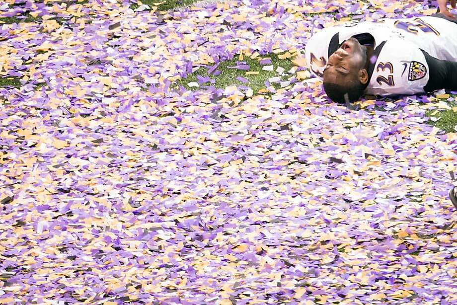 Baltimore Ravens defensive back Chykie Brown celebrates following the Ravens 34-31 victory over the San Francisco 49ers in Super Bowl XLVII at the Mercedes-Benz Superdome on Sunday, Feb. 3, 2013, in New Orleans. Photo: Smiley N. Pool, Chronicle