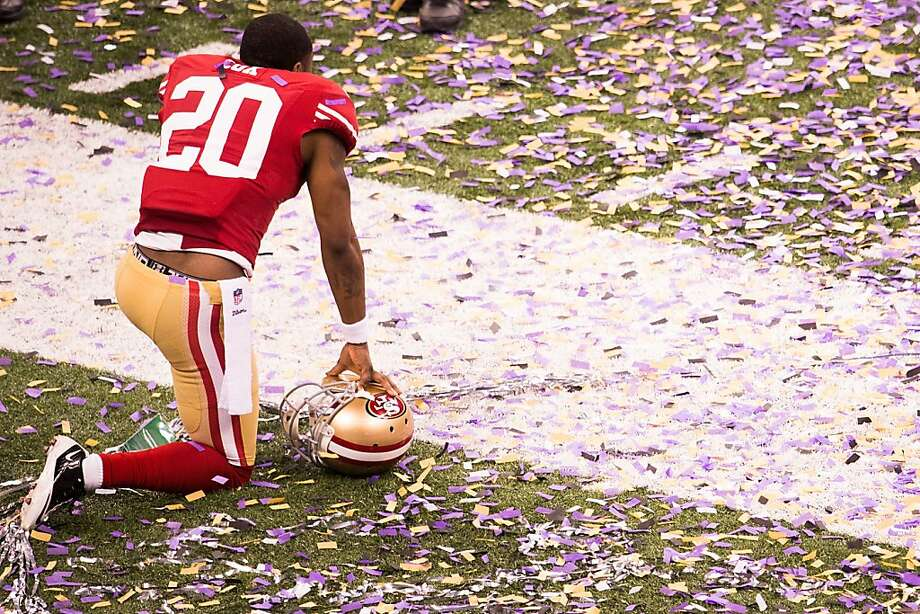 San Francisco 49ers defensive back Perrish Cox  kneels on the field following the Baltimore Ravens 34-31 victory in Super Bowl XLVII at the Mercedes-Benz Superdome on Sunday, Feb. 3, 2013, in New Orleans. Photo: Smiley N. Pool, Chronicle