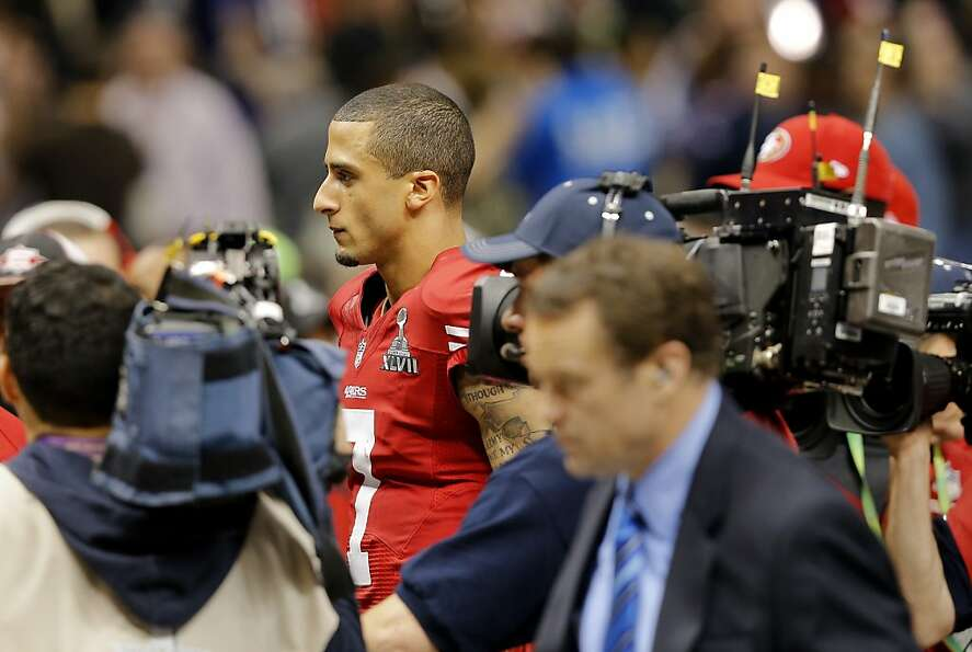 Colin Kaepernick leaves the field quickly  after the last 49er play. The Baltimore Ravens defeated t