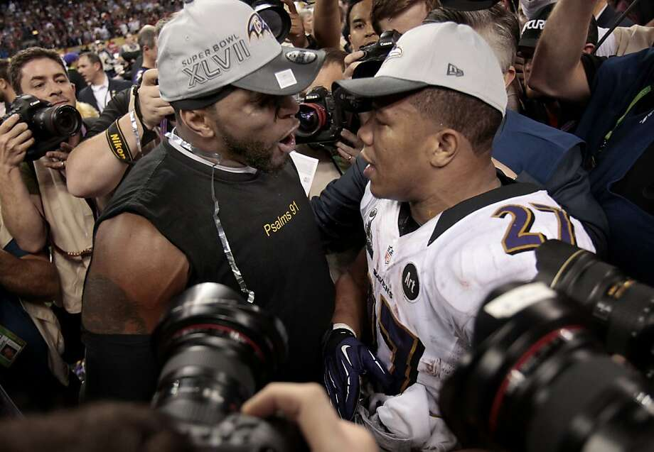 Ray Lewis (left) and Ray Rice embraced at the end of the game. The Baltimore Ravens defeated the San Francisco 49ers in Super Bowl XLVVII 34-31 Sunday February 3, 2013. Photo: Brant Ward, The Chronicle