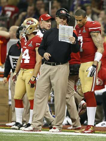 Quarterback Colin Kaepernick (7) and San Francisco 49ers Jim Harbaugh during the fourth quarter of Superbowl XLVII between the San Francisco 49ers and the Baltimore Ravens at the Mercedes-Benz Superdome on Sunday February 3, 2013 in New Orleans, La. Photo: Michael Macor, The Chronicle