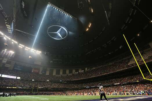 Half of the lights go out during the third quarter causing a delay of game during Superbowl XLVII between the San Francisco 49ers and the Baltimore Ravens at the Mercedes-Benz Superdome on Sunday February 3, 2013 in New Orleans, La. Photo: Michael Macor, The Chronicle