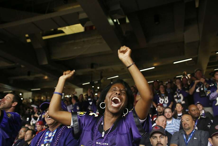 Dana DeVance, of Baltimore, cheers after a Ravens touchdown during Superbowl XLVII between the San Francisco 49ers and the Baltimore Ravens at the Mercedes-Benz Superdome on Sunday February 3, 2013, New Orleans, La. Photo: Mike Kepka, The Chronicle