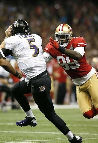 Linebacker Aldon Smith (99) sacks Baltimore Ravens quarterback Joe Flacco (5) during the first half of Superbowl XLVII between the San Francisco 49ers and the Baltimore Ravens at the Mercedes-Benz Superdome on Sunday February 3, 2013 in New Orleans, La. Photo: Michael Macor, The Chronicle