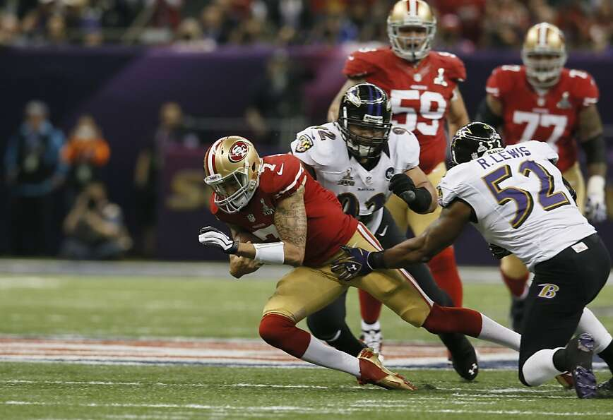 San Francisco 49ers Quarterback Colin Kaepernick (7) runs for a small gain in the first half of Supe