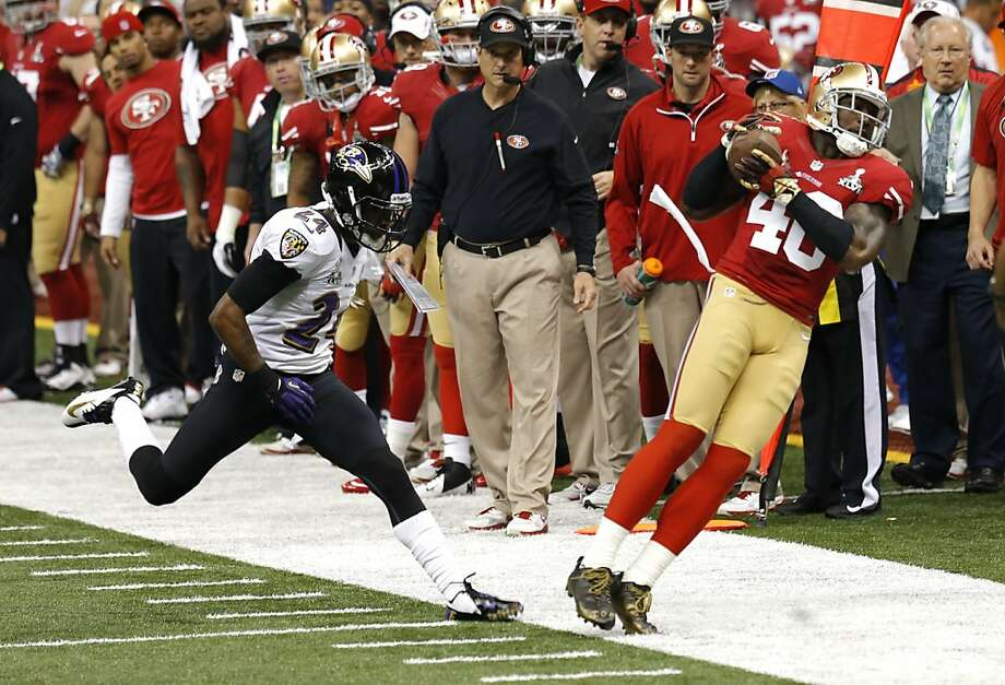San Francisco 49ers Tight end Delanie Walker (46) catches a pass out of bounds in the first quarter of Superbowl XLVII between the San Francisco 49ers and the Baltimore Ravens at the Mercedes-Benz Superdome on Sunday February 3, 2013 in New Orleans, La. Photo: Carlos Avila Gonzalez, The Chronicle