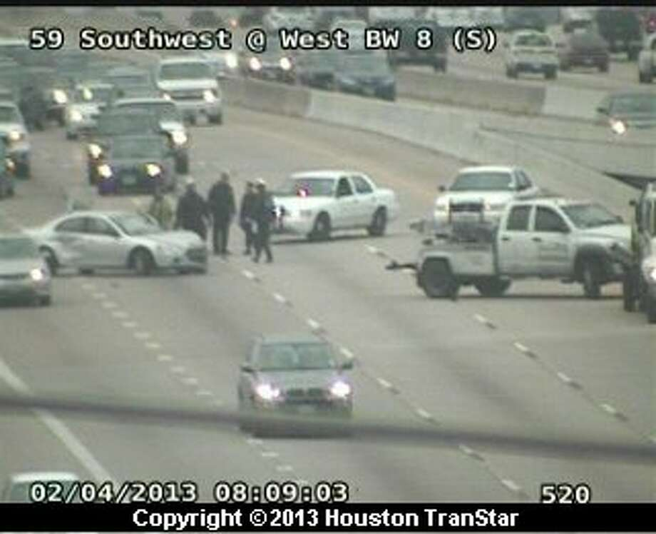 Traffic was snarled on the Southwest Freeway near the west Sam Houston Parkway during rush hour Monday morning. Photo: Houston Transtar