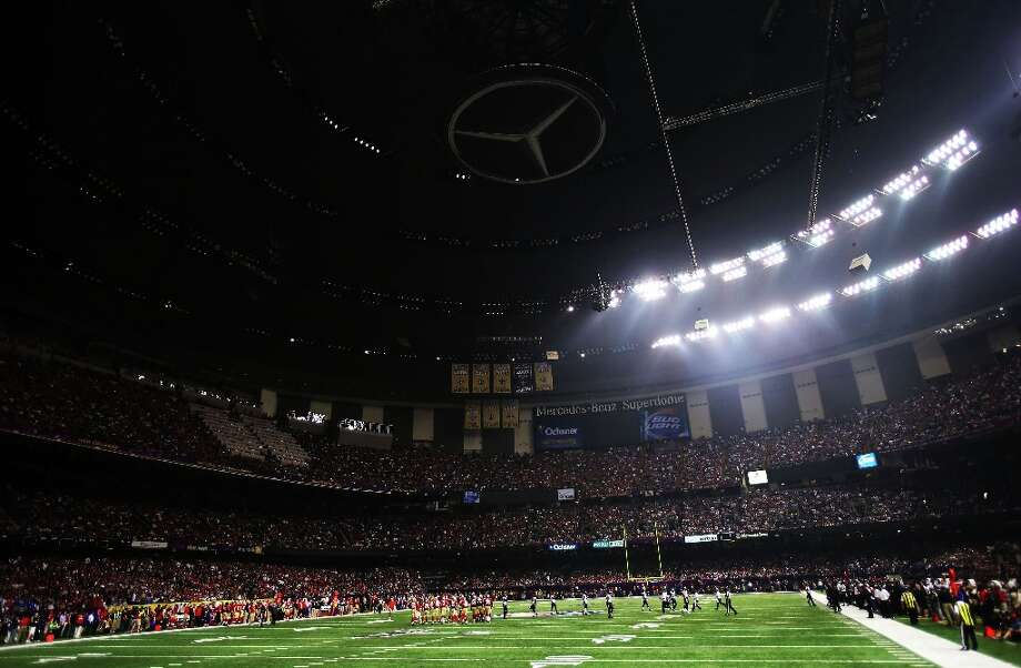 24. Power outage in New Orleans — Super Bowl XLVIII: A partial power outage during the third quarter causes a 34 minute delay in the game during Super Bowl XLVII at the Mercedes-Benz Superdome. Photo: Ronald Martinez, Getty Images / 2013 Getty Images