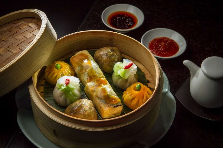 In the small eats section, pan-seared Shanghai dumplings ($10) looked pretty, lined up precisely on the plate, but the thick dough dominated the filling ... The vegetarian dim sum platter ($18, pictured) is also a highlight.