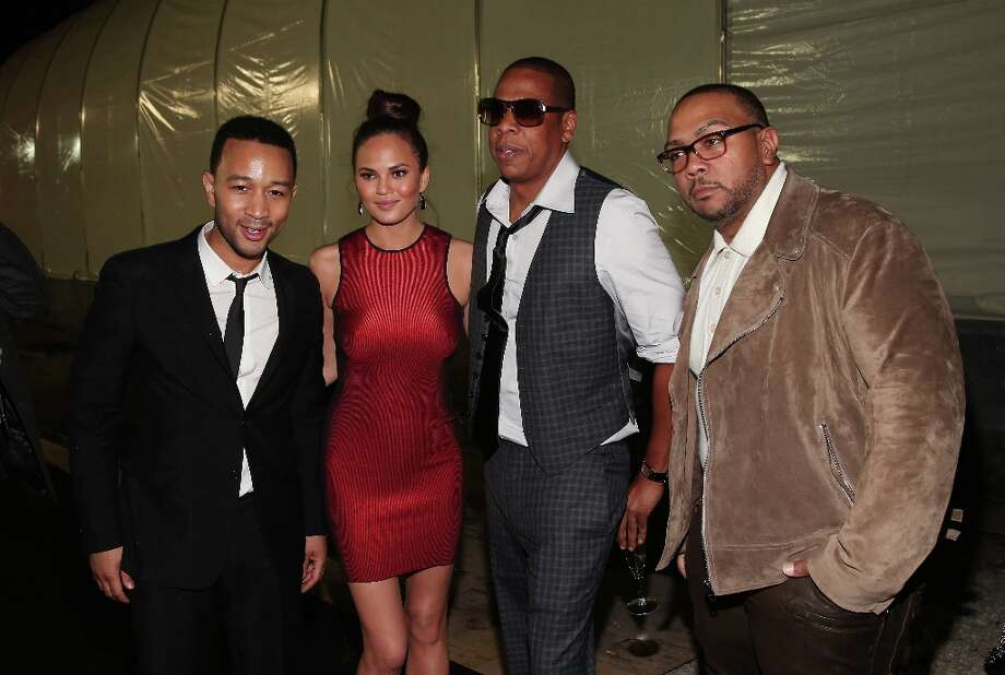 (L-R) John Legend, Christy Teigen, Jay-Z, and Timbaland attend DIRECTV Super Saturday Night Featuring Special Guest Justin Timberlake & Co-Hosted By Mark Cuban's AXS TV on February 2, 2013 in New Orleans, Louisiana. Photo: Christopher Polk, Getty Images For DirecTV / 2013 Getty Images
