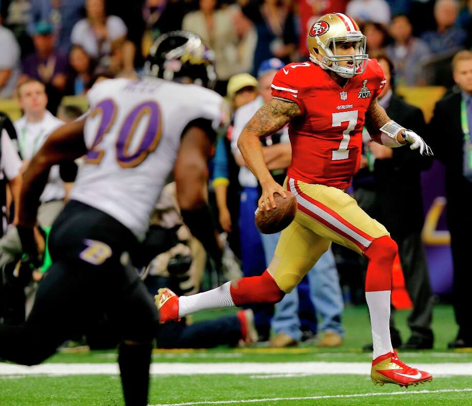 Colin Kaepernick ran for a touchdown in the fourth quarter. The Baltimore Ravens defeated the San Francisco 49ers in Super Bowl XLVVII 34-31 Sunday February 3, 2013. Photo: Brant Ward, The Chronicle / ONLINE_YES