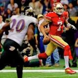 Colin Kaepernick ran for a touchdown in the fourth quarter. The Baltimore Ravens defeated the San Francisco 49ers in Super Bowl XLVVII 34-31 Sunday February 3, 2013.