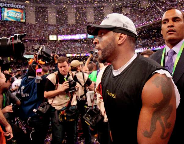 Ray Lewis walked through the confetti at the end of the game. The Baltimore Ravens defeated the San Francisco 49ers in Super Bowl XLVVII 34-31 Sunday February 3, 2013. Photo: Brant Ward, The Chronicle / ONLINE_YES