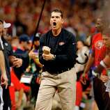 49ers coach Jim Harbaugh yelled at officials for a holding call on the missed catch by Michael Crabtree in the endzone in the fourth quarter. The Baltimore Ravens defeated the San Francisco 49ers in Super Bowl XLVVII 34-31 Sunday February 3, 2013.