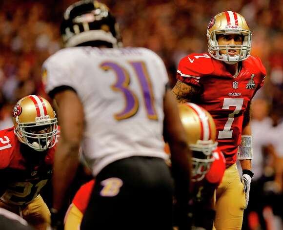 On the second to last possession Colin Kaepernick was unable to connect with Michael Crabtree. The Baltimore Ravens defeated the San Francisco 49ers in Super Bowl XLVVII 34-31 Sunday February 3, 2013. Photo: Brant Ward, The Chronicle / ONLINE_YES