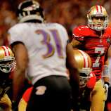 On the second to last possession Colin Kaepernick was unable to connect with Michael Crabtree. The Baltimore Ravens defeated the San Francisco 49ers in Super Bowl XLVVII 34-31 Sunday February 3, 2013.