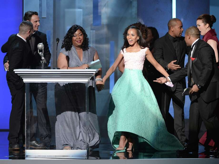 (L-R) Actors Tony Goldwyn, producer Shondra Rhimes and actors Kerry Washington speak onstage during the 44th NAACP Image Awards at The Shrine Auditorium on February 1, 2013 in Los Angeles, California.  (Photo by Kevin Winter/Getty Images for NAACP Image Awards) Photo: Kevin Winter, (Credit Too Long, See Caption) / 2013 Getty Images