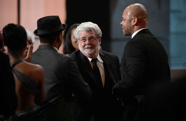 Directors George Lucas and Anthony Hemingway onstage during the 44th NAACP Image Awards at The Shrine Auditorium on February 1, 2013 in Los Angeles, California.  (Photo by Kevin Winter/Getty Images for NAACP Image Awards) Photo: Kevin Winter, (Credit Too Long, See Caption) / 2013 Getty Images