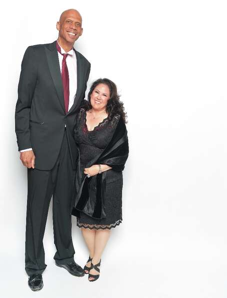 Athlete/author Kareem Abdul-Jabbar (L) and director Deborah Morales pose for a portrait during the 4