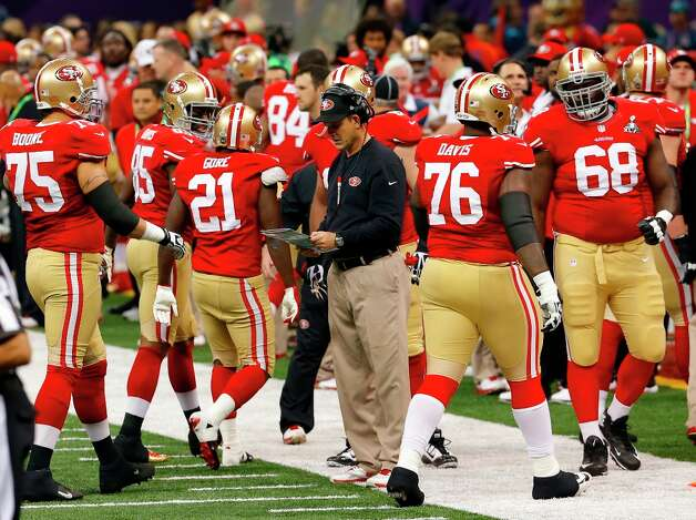 San Francisco 49ers head coach Jim Harbaugh during the first quarter of Superbowl XLVII between the San Francisco 49ers and the Baltimore Ravens at the Mercedes-Benz Superdome on Sunday February 3, 2013 in New Orleans, La. Photo: Carlos Avila Gonzalez, The Chronicle / ONLINE_YES
