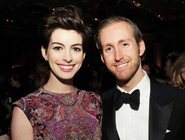 Actress Anne Hathaway (L) and husband Adam Shulman attend the 65th Annual Directors Guild Of America Awards at Ray Dolby Ballroom at Hollywood & Highland on February 2, 2013 in Los Angeles, California. Photo: Kevin Winter, Getty Images / 2013 Getty Images