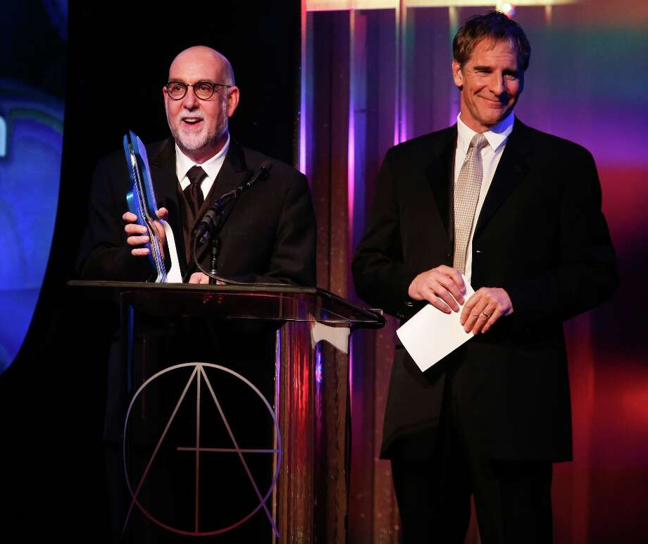 Production team member of the Star Trek Franchise Alec Bernstein (L) and actor Scott Bakula speak on behalf of Herman Zimmerman who received the Lifetime Achievement Award at the 17th Annual Art Directors Guild Awards, held at The Beverly Hilton Hotel on February 2, 2013 in Beverly Hills, California. Photo: Imeh Akpanudosen, Getty Images / 2013 Getty Images