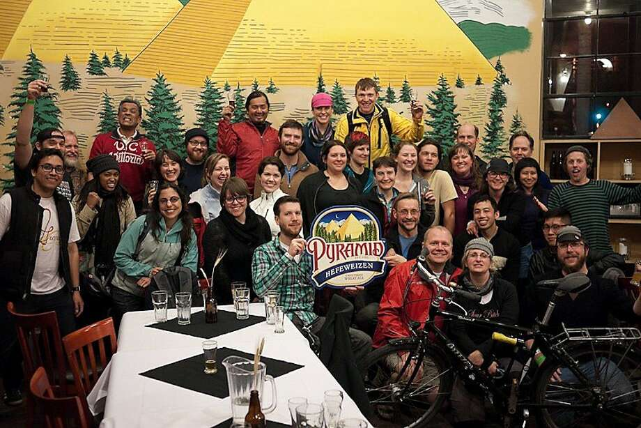 Members of the Grand Cru bicycle group enjoy their pit stop at the Pyramid brewery during last year's Tour de Biere. Photo: Courtesy East Bay Bicycle Coalit