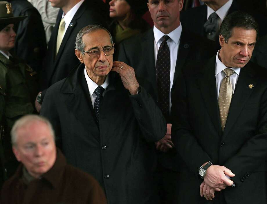 NEW YORK, NY - FEBRUARY 04:  New York Governor Andrew Cuomo (R) and his father former Governor Mario Cuomo exit funeral services for former New York Mayor Ed Koch at Manhattan's Temple Emanu-El on February 4, 2013 in New York City.The iconic former New York mayor passed away on February 1, 2013 in New York City at age 88. Ed Koch was New York's 105th mayor and ran the city from 1978-89. He was often outspoken and combative and has been credited with rescuing the city from near-financial ruin during a three-term City Hall run. Photo: Spencer Platt, Getty Images / 2013 Getty Images