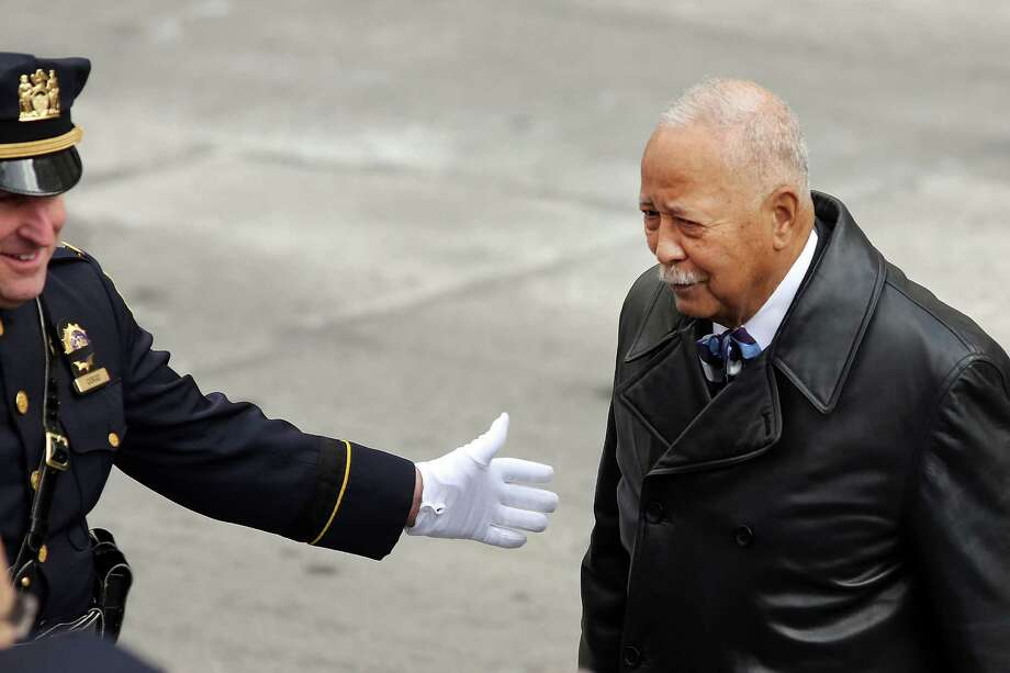 NEW YORK, NY - FEBRUARY 04: Former New York City Mayor David Dinkins attends funeral services for former New York Mayor Ed Koch at Manhattan's Temple Emanu-El on February 4, 2013 in New York City.The iconic former New York mayor passed away on February 1, 2013 in New York City at age 88. Ed Koch was New York's 105th mayor and ran the city from 1978-89. He was often outspoken and combative and has been credited with rescuing the city from near-financial ruin during a three-term City Hall run.  Former Governor Mario Cuomo is at left. Photo: Spencer Platt, Getty Images / 2013 Getty Images
