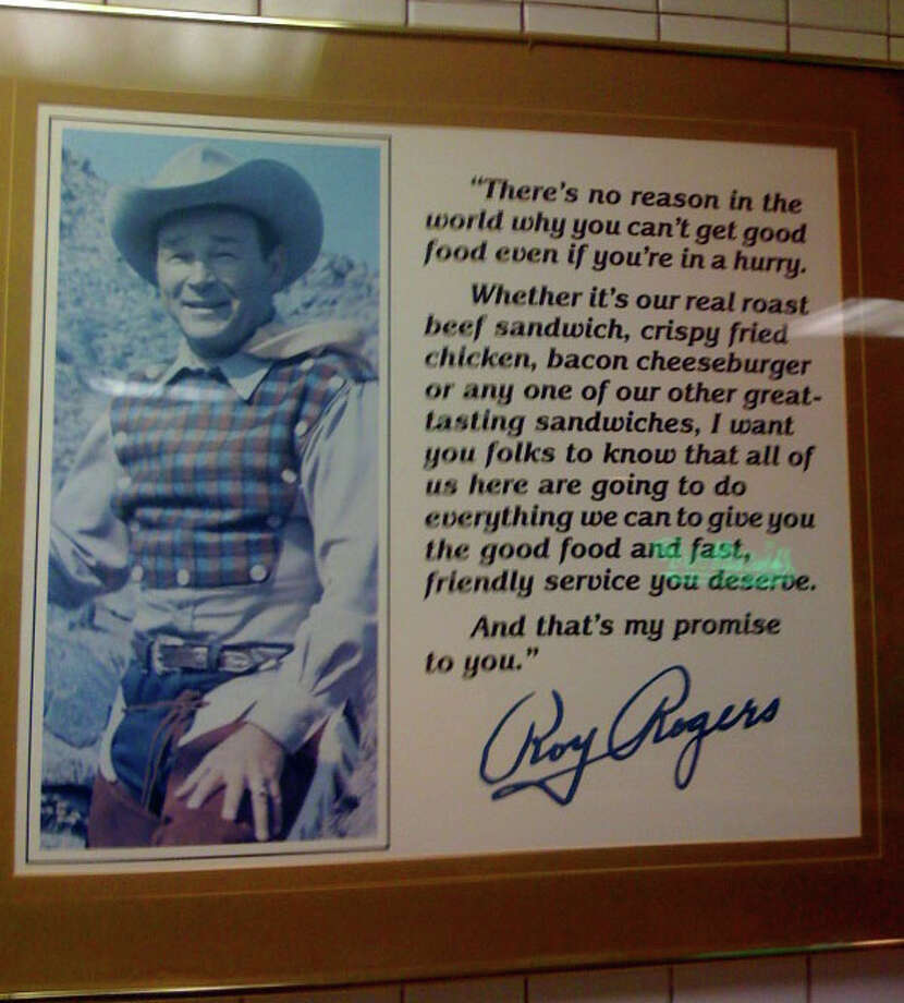 "Speaking of restaurants named after their founders, the Roy Rogers chain was once popular throughout the Northeast. But Roy Rogers didn't start the chain. Marriott Corp. did, choosing the actor as its namesake ""because Roy personified the honest, wholesome image desired for the Roy Rogers brand, and the West's reputation for good beef and 'down home cooking,'"" according to the corporate history. Photo: Newkai/Wikimedia Commons"