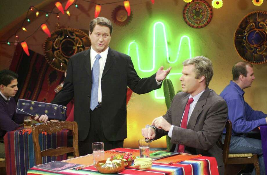 """The suburban Chi-Chi's chain of Mexican (sort of) restaurants grew to more than 200 locations in the 1990s, and was the setting for a """"Saturday Night Live"""" skit featuring Darrell Hammond as Al Gore and Will Ferrell as George W. Bush on Dec. 16, 2000. Photo: Dana Edelson, Dana Edelson/NBCU Photo Bank / © NBC Universal, Inc.."""