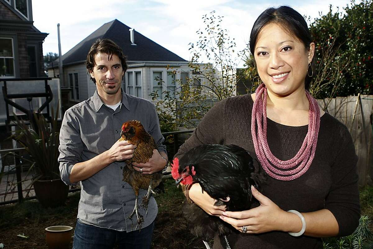 Peter Strzebniok and his wife, Deborah Wong, creators of the Moop, show off their flock of fortunate hens at their home in San Francisco's Eureka Valley.