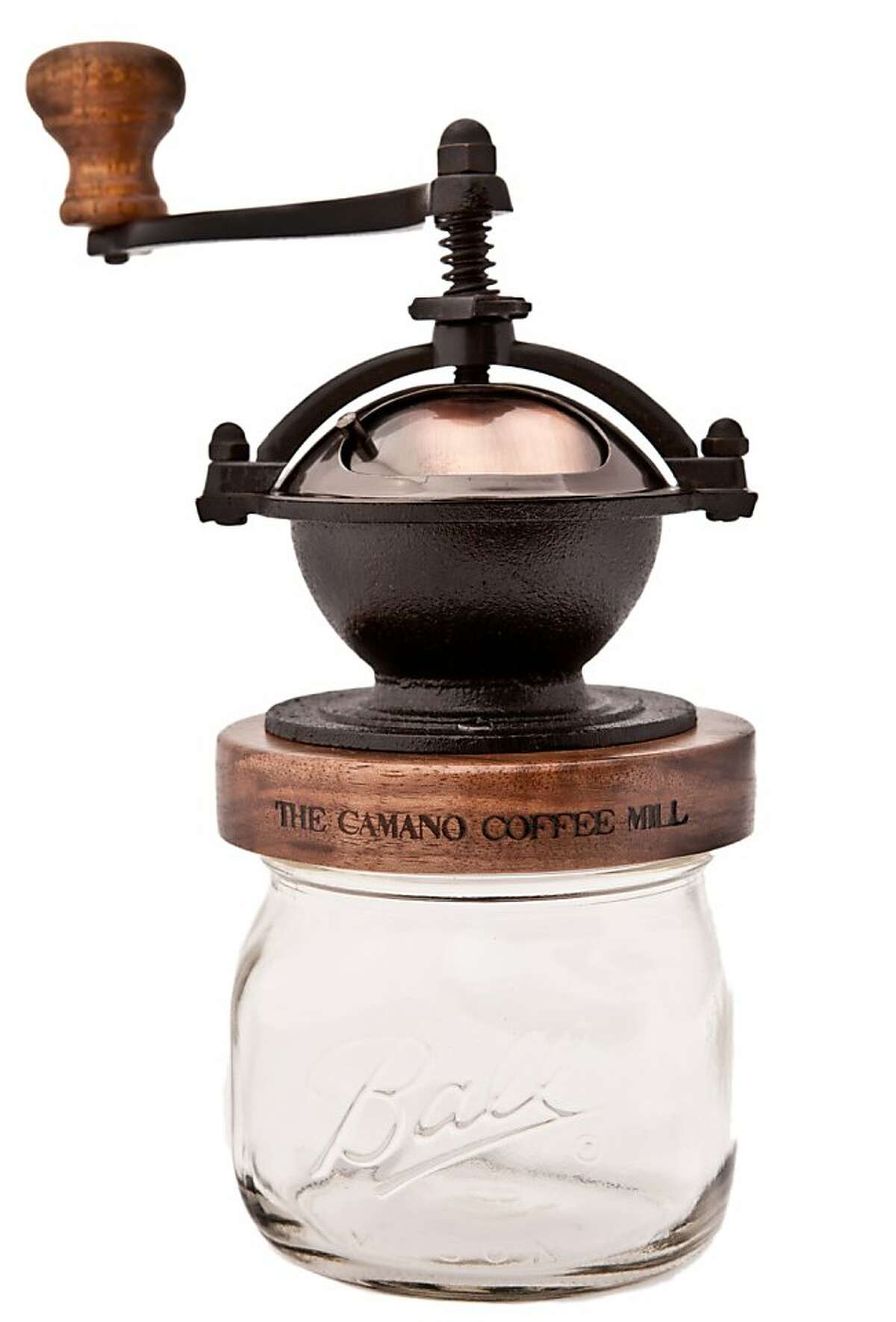 Redrooster's Camano Coffee Mill not only grinds coffee beans in a USA-made conical burr grinder, but also incorporates a mason jar in its design.