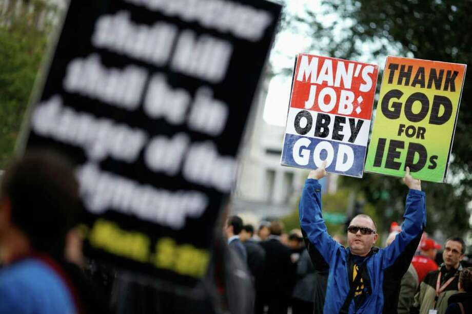 Several thousand people are tired of the Westboro ideologies and want the government to investigate Westboro's church tax exempt status. (CLOSED: AWAITING RESPONSE)  Photo: Chip Somodevilla / Getty Images North America