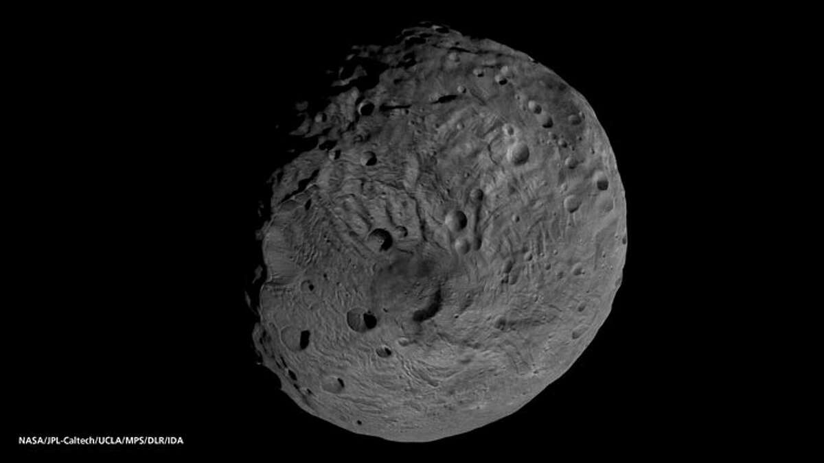 The south pole of the giant asteroid Vesta, as imaged by the framing camera on NASA's Dawn spacecraft in September 2011.