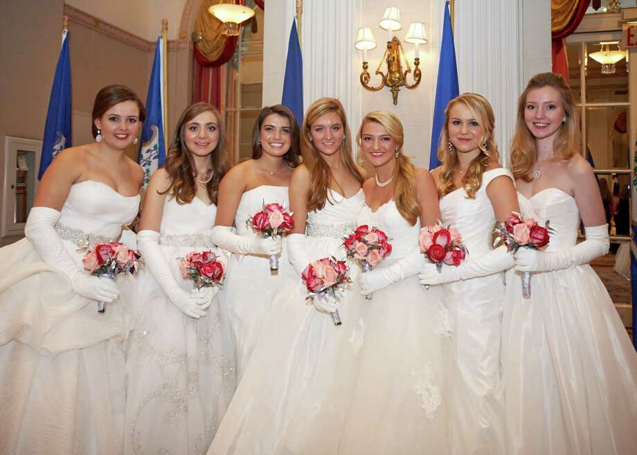From left, MacKenzie Nix, Carolyn Schnackenberg, Chase Hughes, Caroline Granruth, Nicole Fischer, Courtney Fischer and Catherine Bradley at the 58th International Debutante Ball at the Waldorf Astoria in New York. All of the women are from Greenwich, except for Bradley, who lives in New Canaan.  Photo Courtesy of Fairfield County Look Photo: Elaine And ChiChi Ubiña, Fairfieldcountylook.com