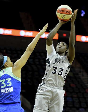 San Antonio Silver Stars' Sophia Young (33) takes a shot during a WNBA game between the San Antonio Silver Stars and the New york Liberty on September 18, 2012 at the AT&T Center in San Antonio Texas.