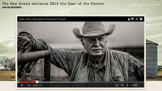 "A screen grab shows part of Ram's ""God Loves a Farmer"" commercial for the Super Bowl. Photo: Screen Grab"