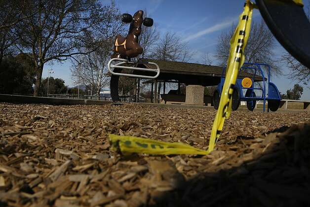 The playground was under investigation during the weekend as it remains empty on Monday, February 4, after 13-year-old Green Valley Middle School student, identified by friends as Genelle Renee Conway-Allen, was found dead at  Allan Witt Park in Fairfield, Calif. Photo: Liz Hafalia, The Chronicle